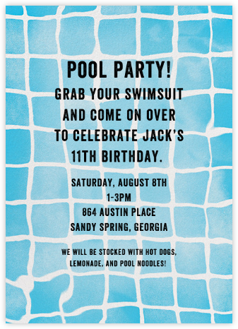 Pool Party - kate spade new york - Online Kids' Birthday Invitations