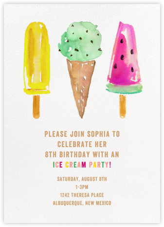 Ice Cream Party - kate spade new york - Online Kids' Birthday Invitations