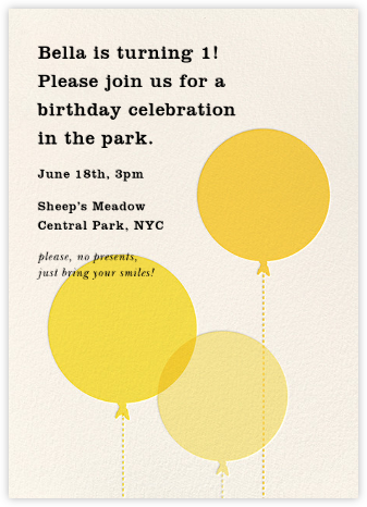 Balloon Baby - Yellow - kate spade new york - Online Kids' Birthday Invitations