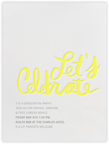 Let's Celebrate - Yellow - Linda and Harriett - Celebration invitations