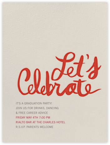 Let's Celebrate - Red - Linda and Harriett - Celebration invitations