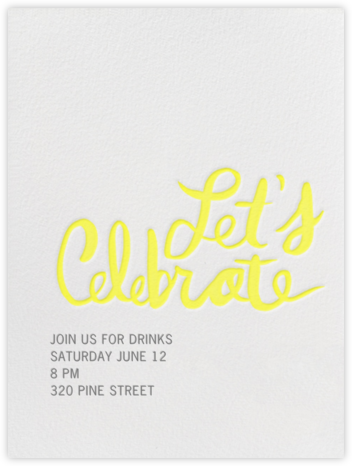 Let's Celebrate - Yellow - Linda and Harriett - Fall Entertaining Invitations