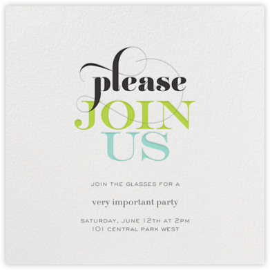 R.S.V.Please - Green - bluepoolroad - Invitations for Parties and Entertaining