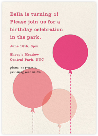 Balloon Baby - Pink - kate spade new york - Online Kids' Birthday Invitations