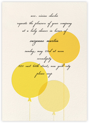 Balloon Baby - Yellow - kate spade new york - Baby shower invitations