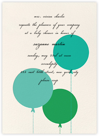 Balloon Baby - Green - kate spade new york - Baby shower invitations