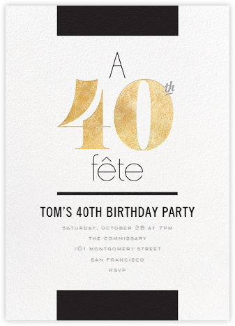 Foiled Fête (Forty) - Gold - bluepoolroad - bluepoolroad invitations and cards
