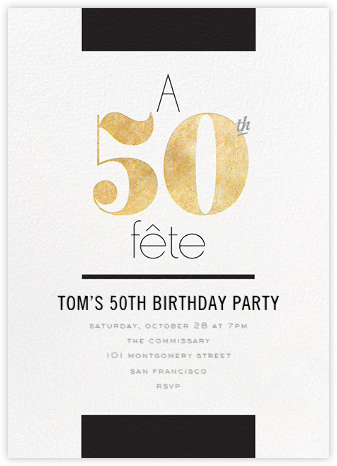 Foiled Fête (Fifty) - Gold - bluepoolroad - bluepoolroad invitations