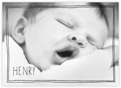 Double Hand Drawn Border - Black - Linda and Harriett - Baby and kids' stationery