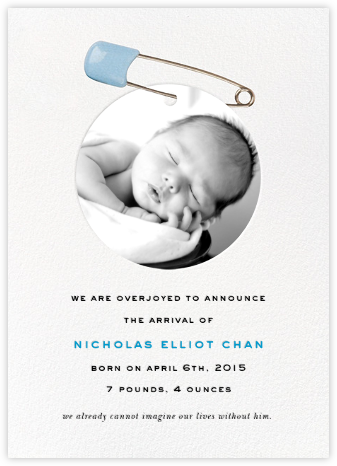 Diaper Pin - Blue  - kate spade new york - Birth Announcements