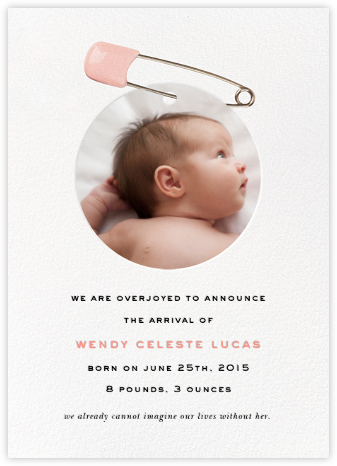 Diaper Pin - Pink - kate spade new york - Announcements