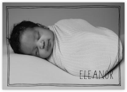 Double Hand Drawn Border - Black - Linda and Harriett - Birth Announcements