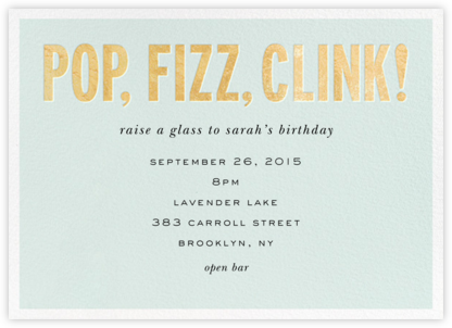 Pop Fizz Clink! (Horizontal) - kate spade new york - Adult birthday invitations
