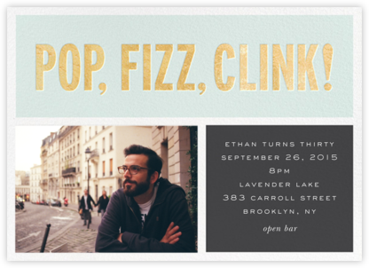 Pop Fizz Clink! (Horizontal Photo) - kate spade new york - Adult birthday invitations