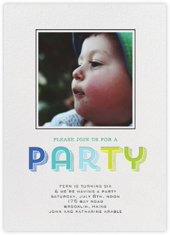 Contour Party (Photo) - Blue - bluepoolroad - Kids' birthday invitations
