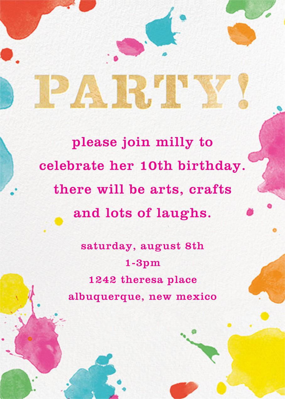 Splatter Paint - Gold - kate spade new york - Kids' birthday invitations