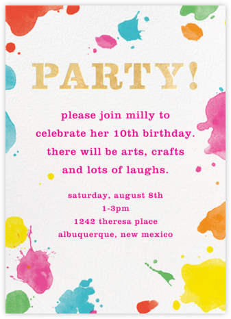 Splatter Paint - Gold - kate spade new york - Online Kids' Birthday Invitations
