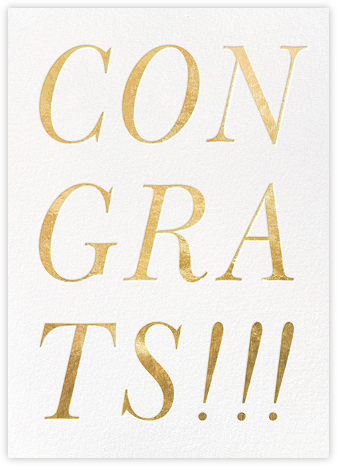 Gold Congrats - kate spade new york - Kate Spade invitations, save the dates, and cards