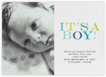 It's a Boy (Photo) - bluepoolroad - Bluepoolroad Invitations