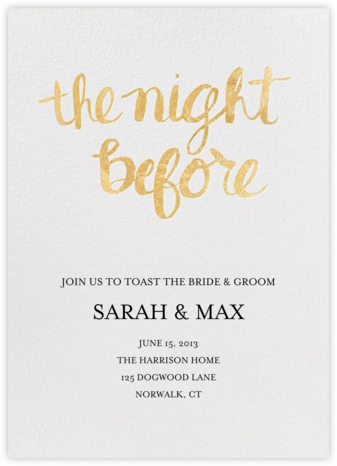 The Night Before - Gold - Linda and Harriett - Wedding Weekend Invitations
