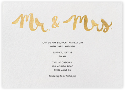 Mr. & Mrs. - Gold - Linda and Harriett - Wedding Weekend Invitations