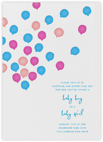 Balloons - Blue and Pink - Linda and Harriett - Baby Shower Invitations