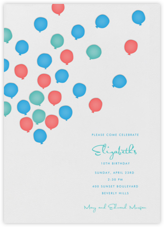 Balloons - Multicolor - Linda and Harriett - First Birthday Invitations
