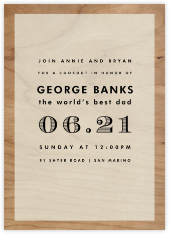 Wood Grain Color Block - White - Paperless Post - Father's day invitations