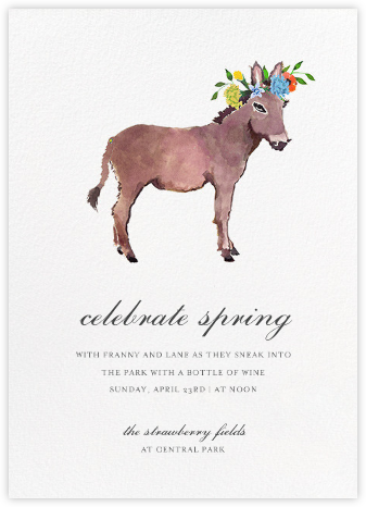 Donkey in the Meadow - Happy Menocal - Spring Party Invitations