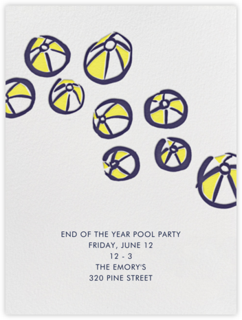Beach Ball Party - Linda and Harriett - Pool Party Invitations