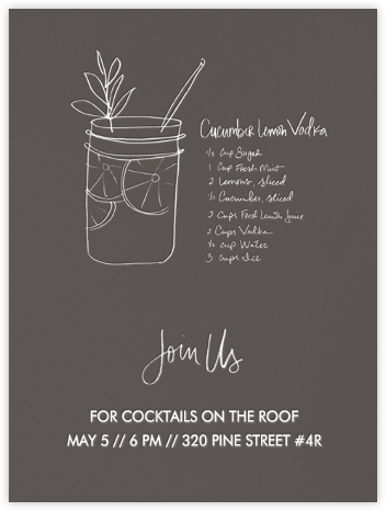 Cucumber Lemon Vodka (Ash) - Linda and Harriett - Summer Party Invitations