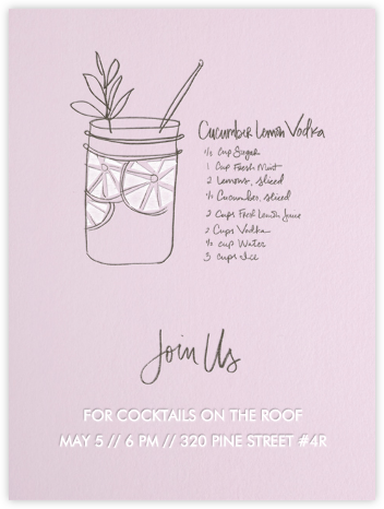 Cucumber Lemon Vodka (Blush) - Linda and Harriett - Summer entertaining invitations