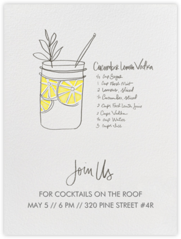 Cucumber Lemon Vodka (Ivory) - Linda and Harriett - Summer entertaining invitations