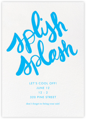 Splish Splash - Light Blue - Linda and Harriett - Pool Party Invitations