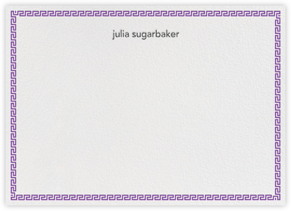 Greek Border - Purple - Jonathan Adler - Personalized Stationery