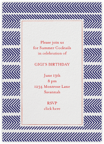 Zig Zag - Royal - Mr. Boddington's Studio - Birthday invitations
