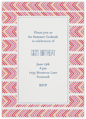 Zig Zag - Pinks - Mr. Boddington's Studio - Adult Birthday Invitations