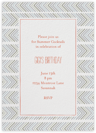 Zig Zag - Neutrals - Mr. Boddington's Studio - Adult Birthday Invitations