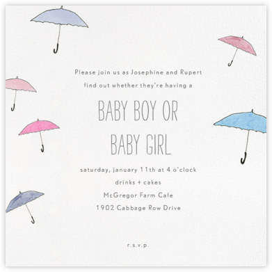 Umbrellas - Pink and Blue - Paperless Post - Baby Shower Invitations