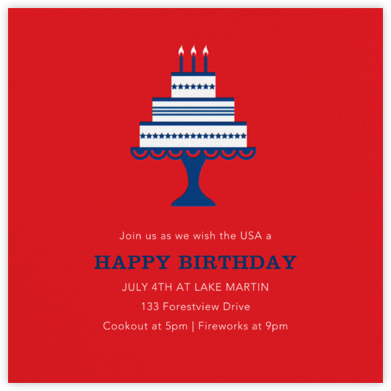 Cake and Candles (Invitation) - 4th of July - Jonathan Adler -