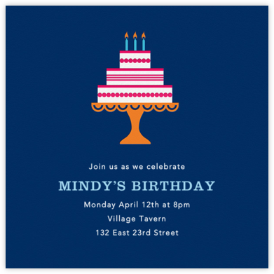 Cake and Candles (Invitation) - Blue - Jonathan Adler - Adult Birthday Invitations