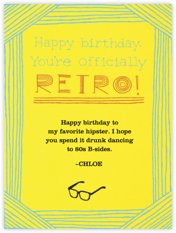 Happy Birthday Hipster - Paperless Post - Birthday Cards for Him