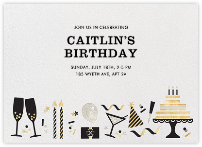 Birthday Soiree - Metallic - Jonathan Adler - Adult Birthday Invitations