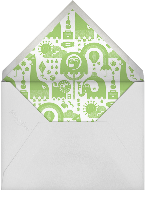 Circus Elephants - Green - Jonathan Adler - Baby shower - envelope back