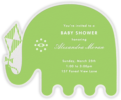Circus Elephants - Green - Jonathan Adler - Elephant Baby Shower Invitations