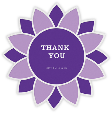 Sunflower - Lilac and Purple - Jonathan Adler - Online Thank You Cards