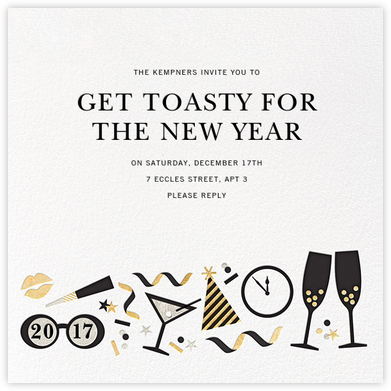Ring It In (Square) - Jonathan Adler - New Year's Eve Invitations