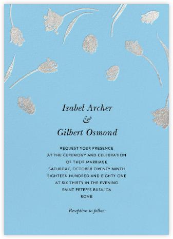 Tulip Dot - Wedgewood/Silver - Oscar de la Renta - Wedding Invitations