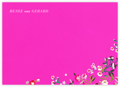 Embroidered Floral (Stationery) - Shocking Pink  - Oscar de la Renta -