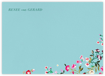 Embroidered Floral (Stationery) - Aquamarine  - Oscar de la Renta - Personalized Stationery